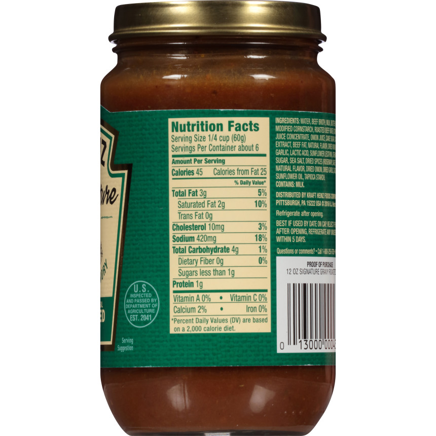 Heinz Signature Roasted Beef Gravy, 12 oz Jar