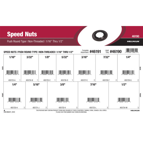 Push Round-Type Speed Nuts Assortment (For 1/16
