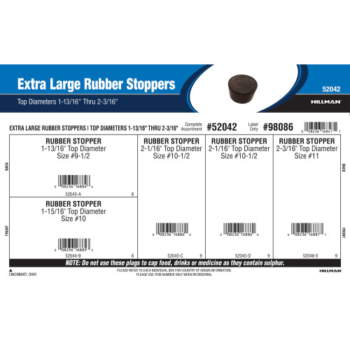 Extra Large Rubber Stoppers Assortment (Top Diameters 1-13/16