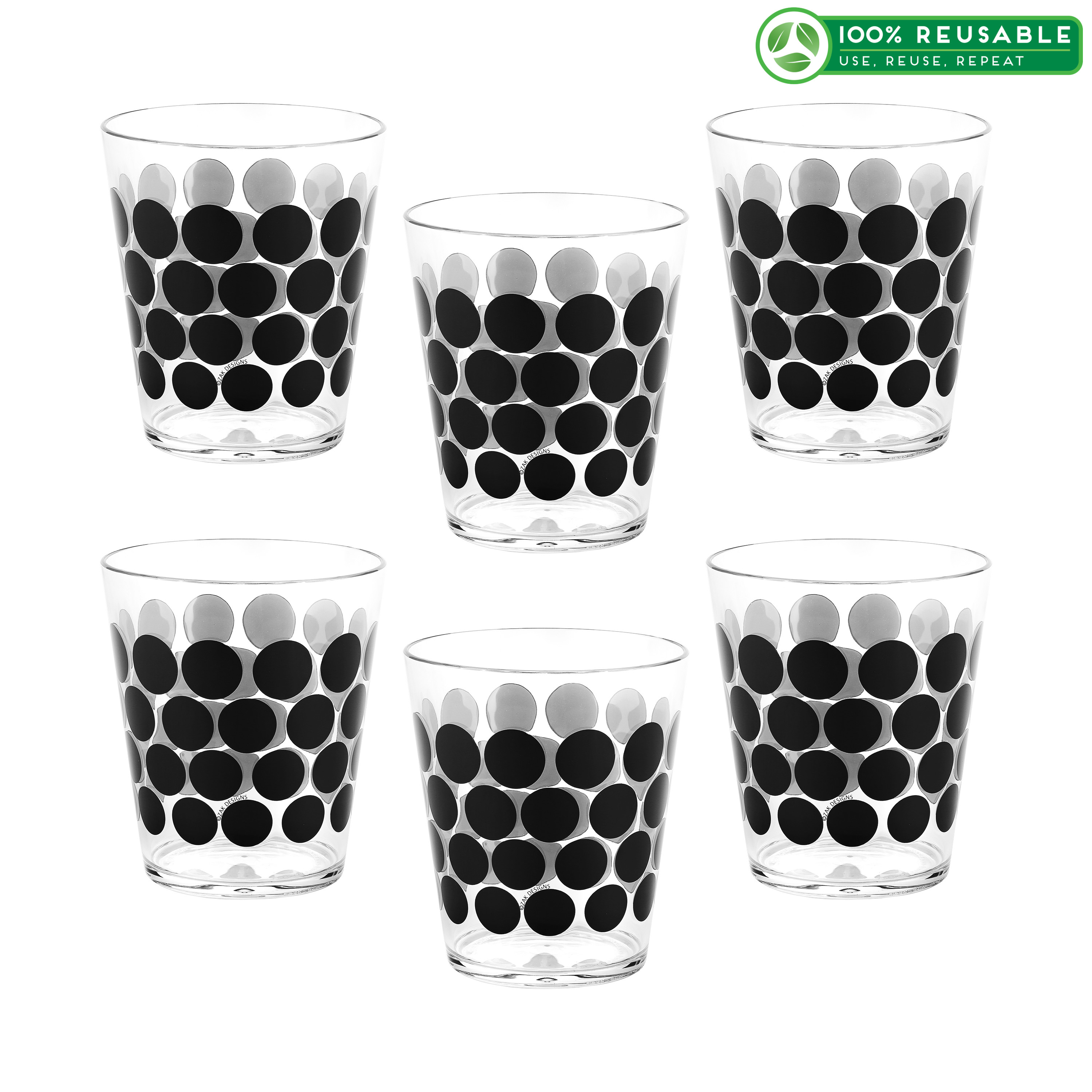 Dot Dot 15 ounce Old-Fashion Glass, Black, 6-piece set slideshow image 1
