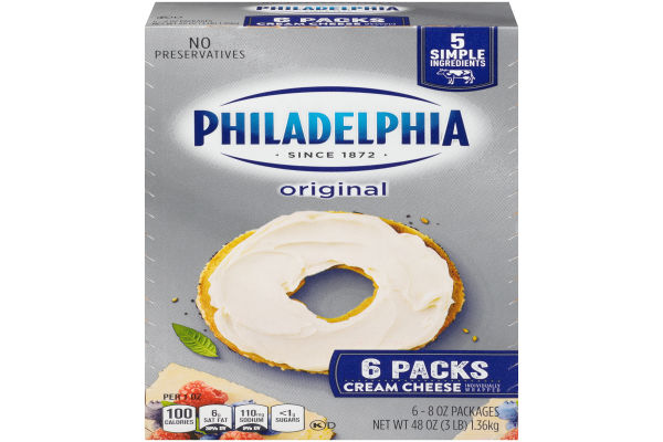 Kraft Philadelphia Original Cream Cheese Brick 48 oz Box ...