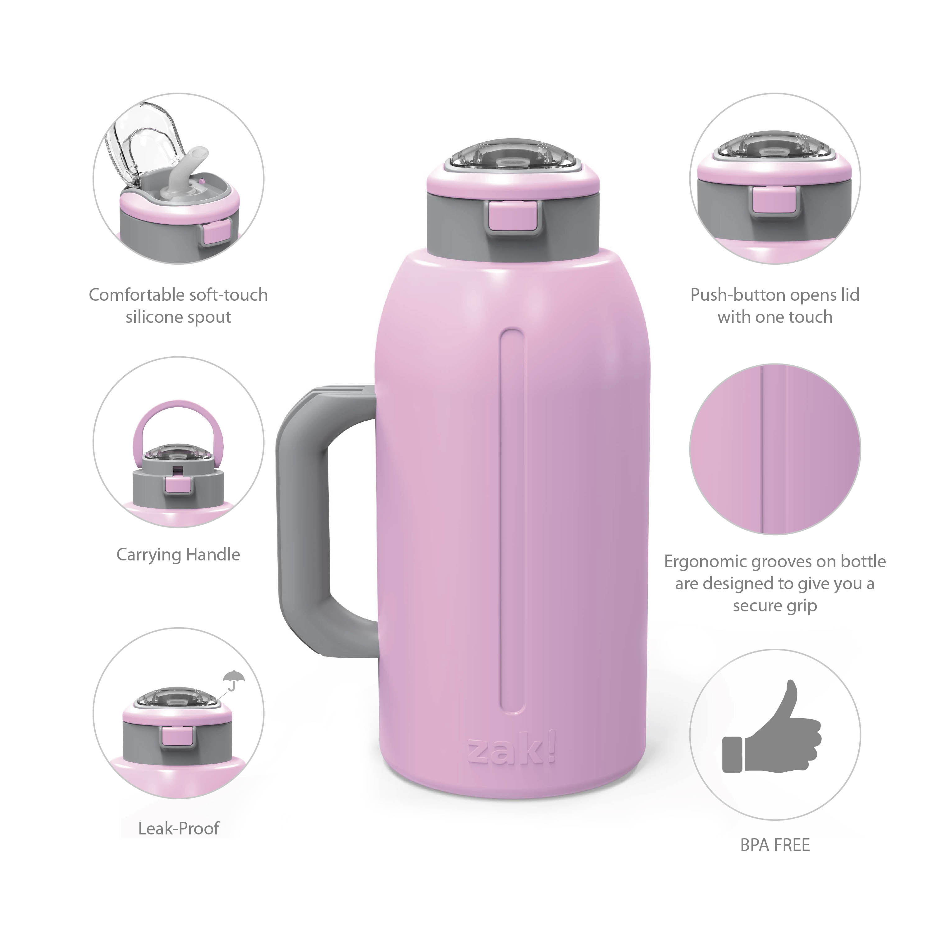Genesis 64 ounce Stainless Steel Water Bottles, Lilac slideshow image 7