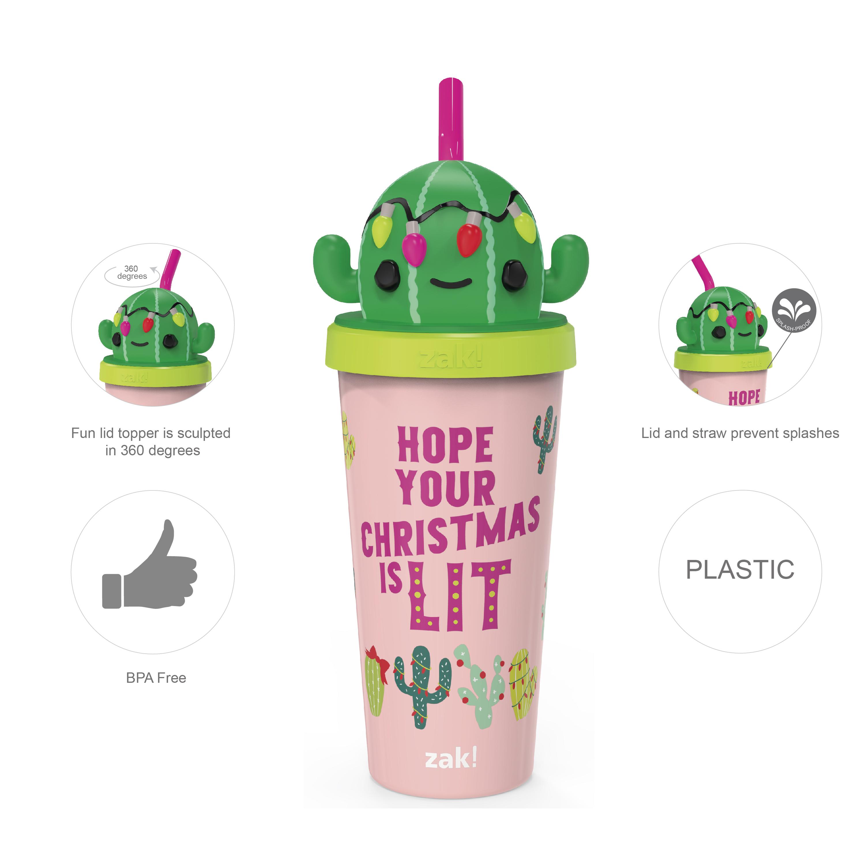 Zak Holiday 18 ounce Reusable Plastic Tumbler, Cactus slideshow image 5