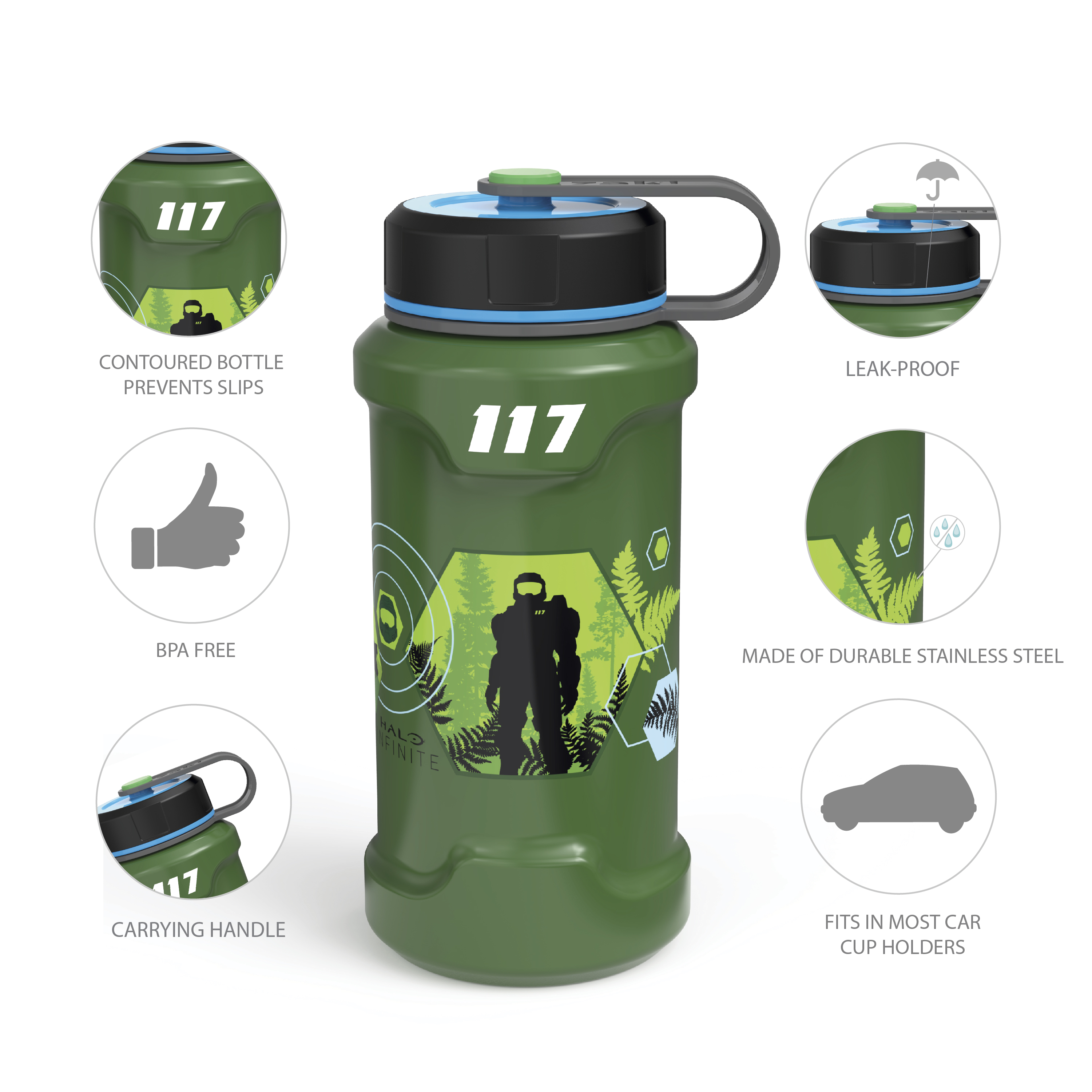 XBOX 24 ounce Stainless Steel Insulated Water Bottle, Halo slideshow image 8
