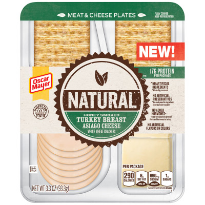 Natural Honey Smoked Turkey Breast, Asiago Cheese & Whole Wheat Crackers 3.3 oz Tray