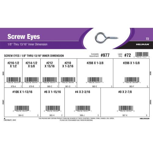 Zinc-Plated Screw Eyes Assortment (1/8
