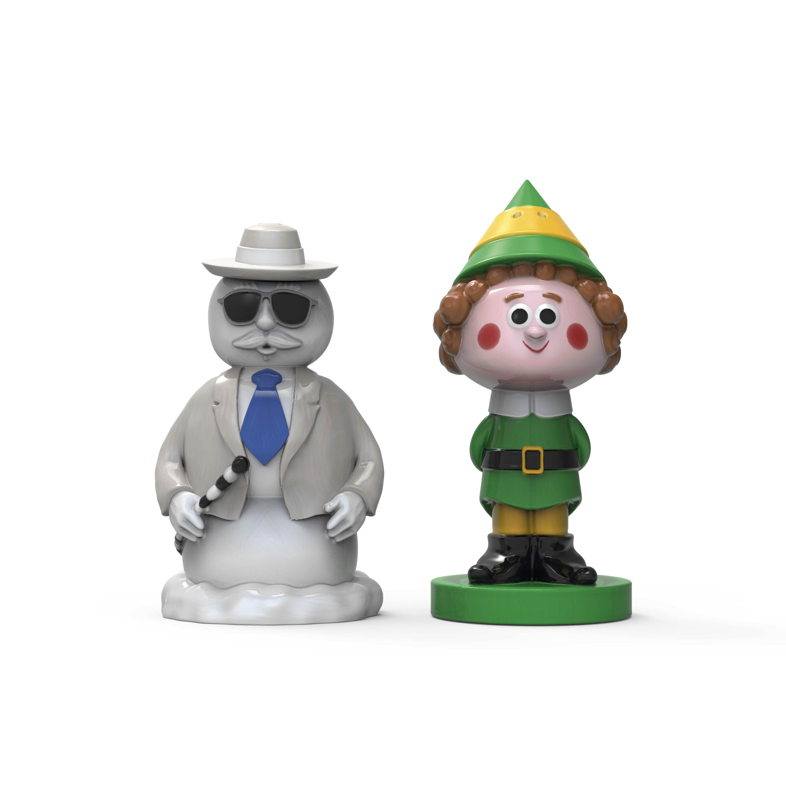 Christmas Collectibles Salt and Pepper Shaker Set, Elf & Snowman, 2-piece set slideshow image 1