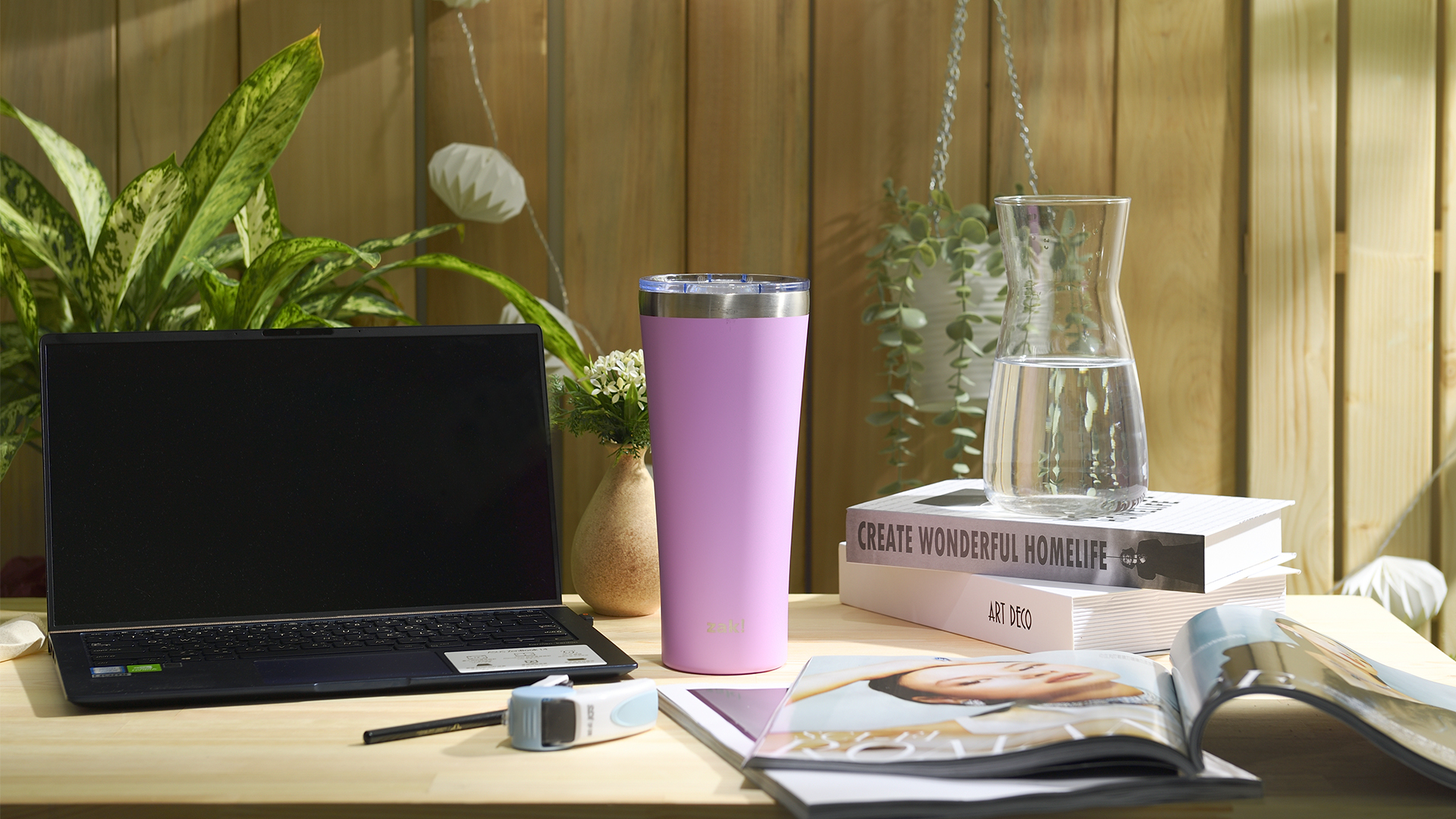 Alpine 30 ounce Stainless Steel Vacuum Insulated Tumbler with Straw, Lilac slideshow image 8