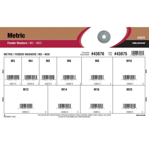 Metric Fender Washers Assortment (M3 thru M20)
