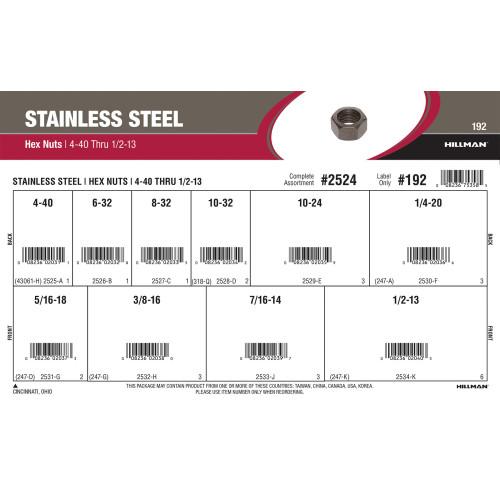 Stainless Steel Hex Nuts Assortment (#4-40 thru 1/2