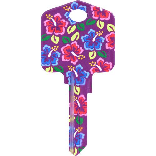 Kool Keys Hibiscus Flowers Key Blank Kwikset 66/97 KW1/10