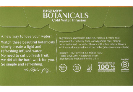 Back panel of Bigelow Botanicals Watermelon Cucumber Melon Mint Cold Water Infusion Box