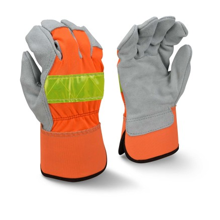 Radians RWG3200HV High Visibility Regular Shoulder Gray Split Cowhide Leather Palm Glove