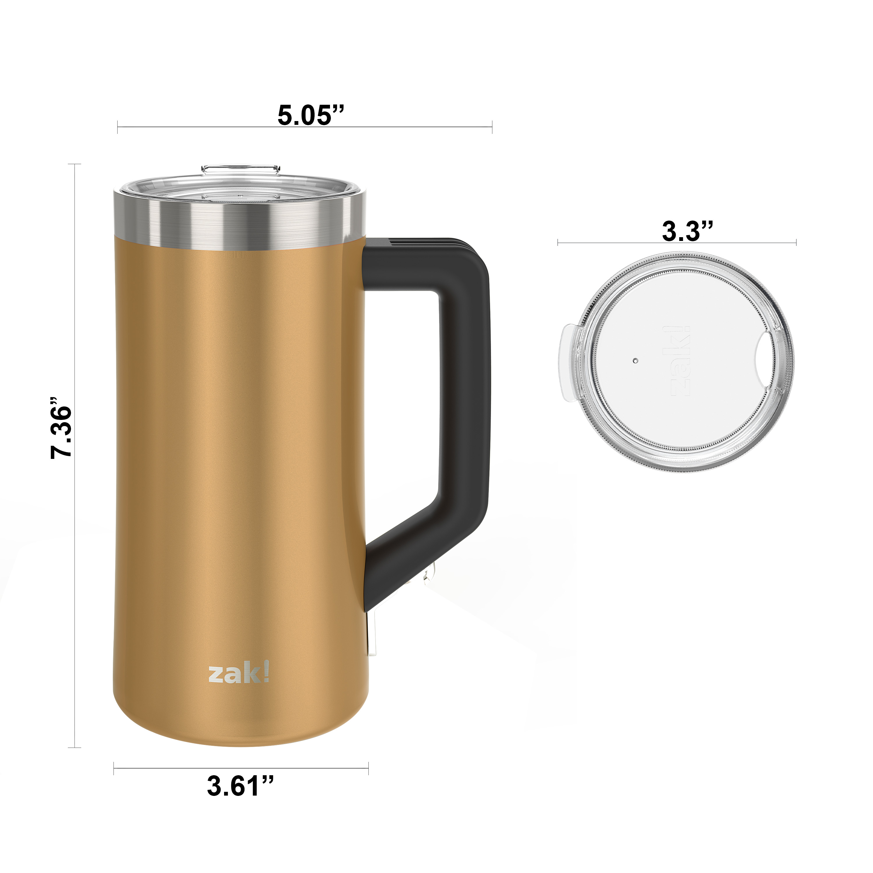 Creston 25 ounce Stainless Steel Vacuum Insulated Beer Stein, Copper slideshow image 5