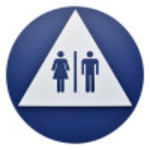 Triangle and Circle Unisex Restroom Adhesive Sign