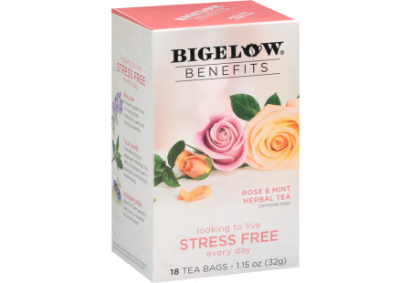 Bigelow Benefits Rose and Mint Herbal Tea- Case of 6 boxes - total of 108 teabags