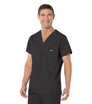 Landau Essentials 1 Pocket Scrub Top for Men: Classic Relaxed Fit, V-Neck, Mesh Vent, Medical 7594-