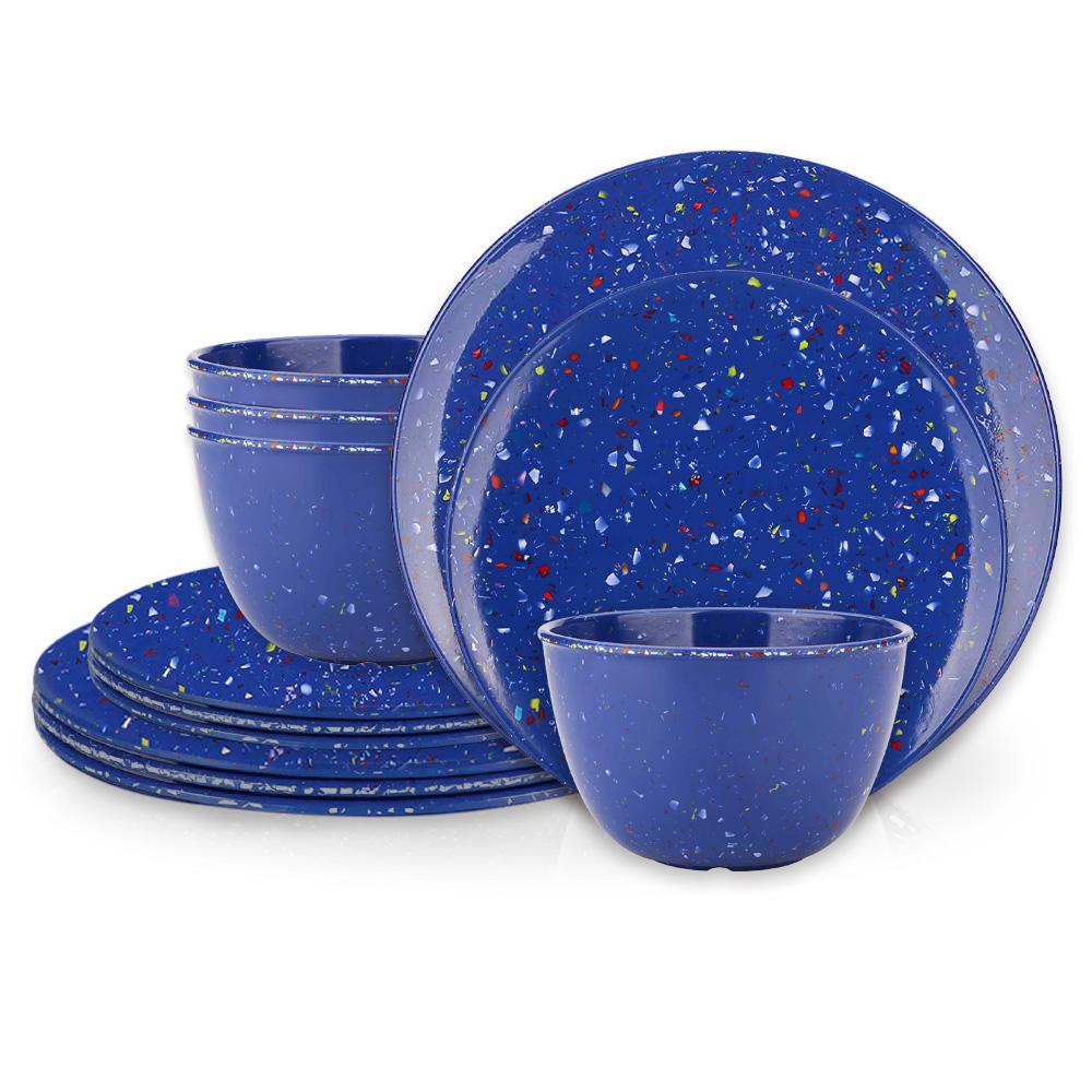Confetti Dinner Plate, Salad Plate and Bowl Dinnerware Set, Blue, 12-piece set slideshow image 1