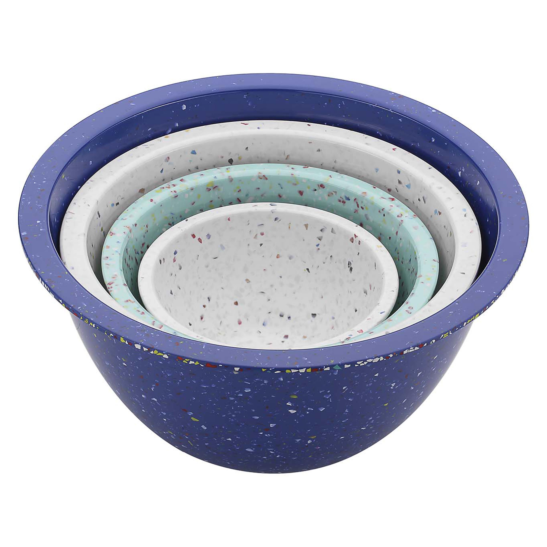 Confetti Mixing Bowl Set, White, Blue & Mint, 4-piece set slideshow image 2