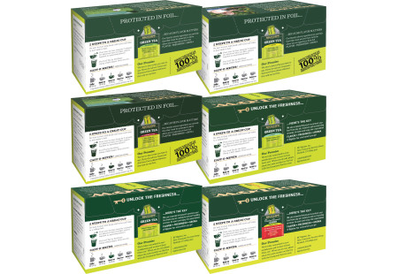 Top of boxes of Mixed Case of Green Teas - 6 boxes