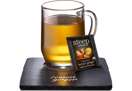 Cup of steep by bigelow organic lemon ginger herbal tea