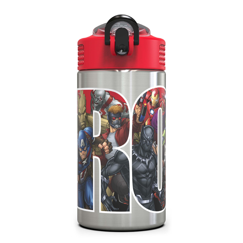 Marvel Comics 15.5 ounce Water Bottle, Black Panther, Captain America, Spider-Man & The Hulk slideshow image 1