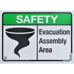 "Aluminum Evacuation Safety Sign 10"" x 14"""