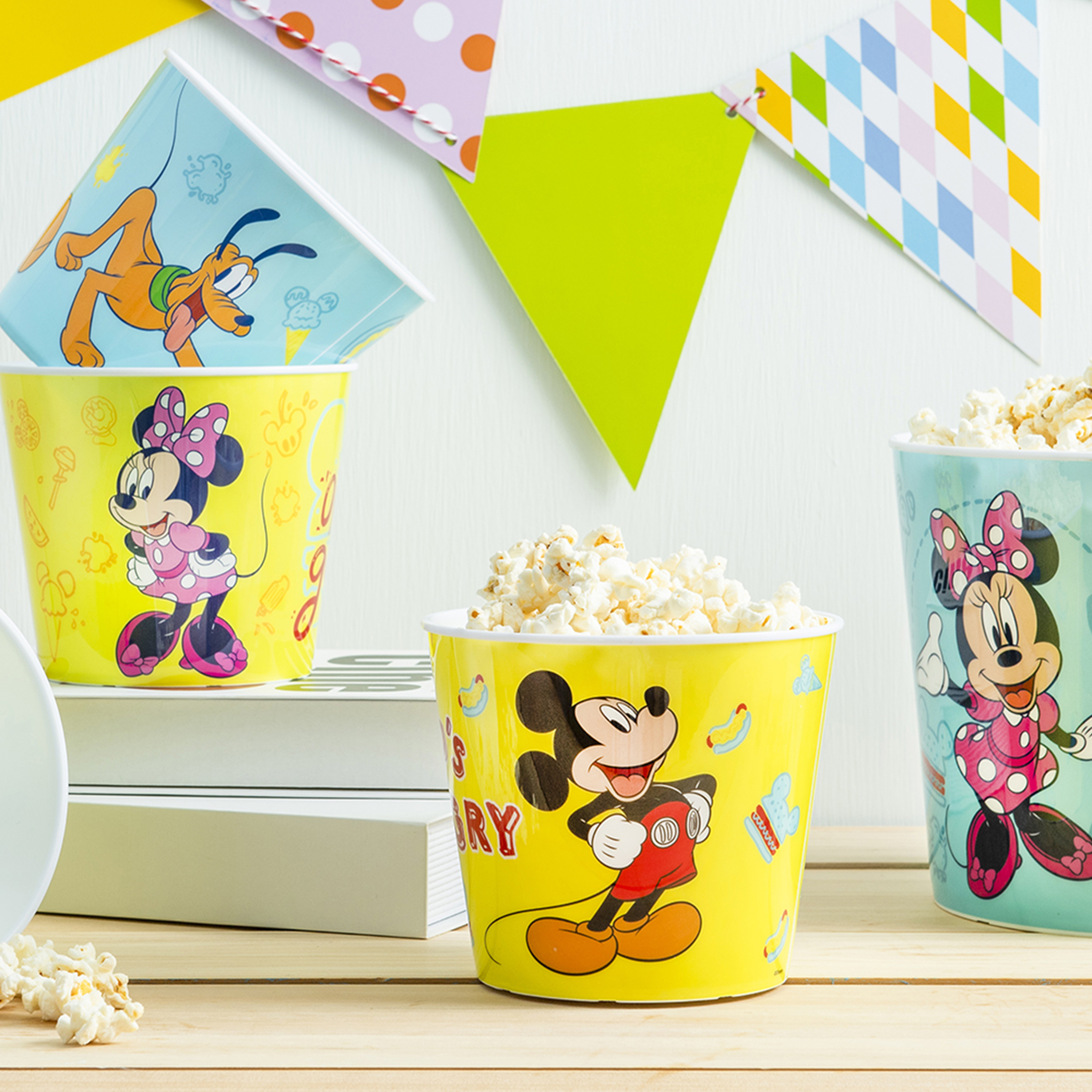 Disney Plastic Popcorn Container and Bowls, Mickey Mouse and Minnie Mouse, 5-piece set slideshow image 7