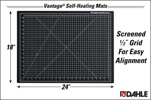 "Dahle Vantage® 18"" x 24"" Self-Healing Cutting Mat, Black - InfoGraphic"