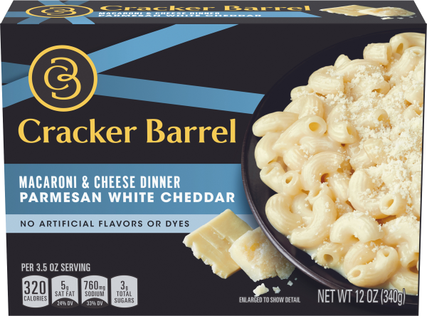 Cracker Barrel Parmesan White Cheddar Macaroni & Cheese Dinner 12 oz Box