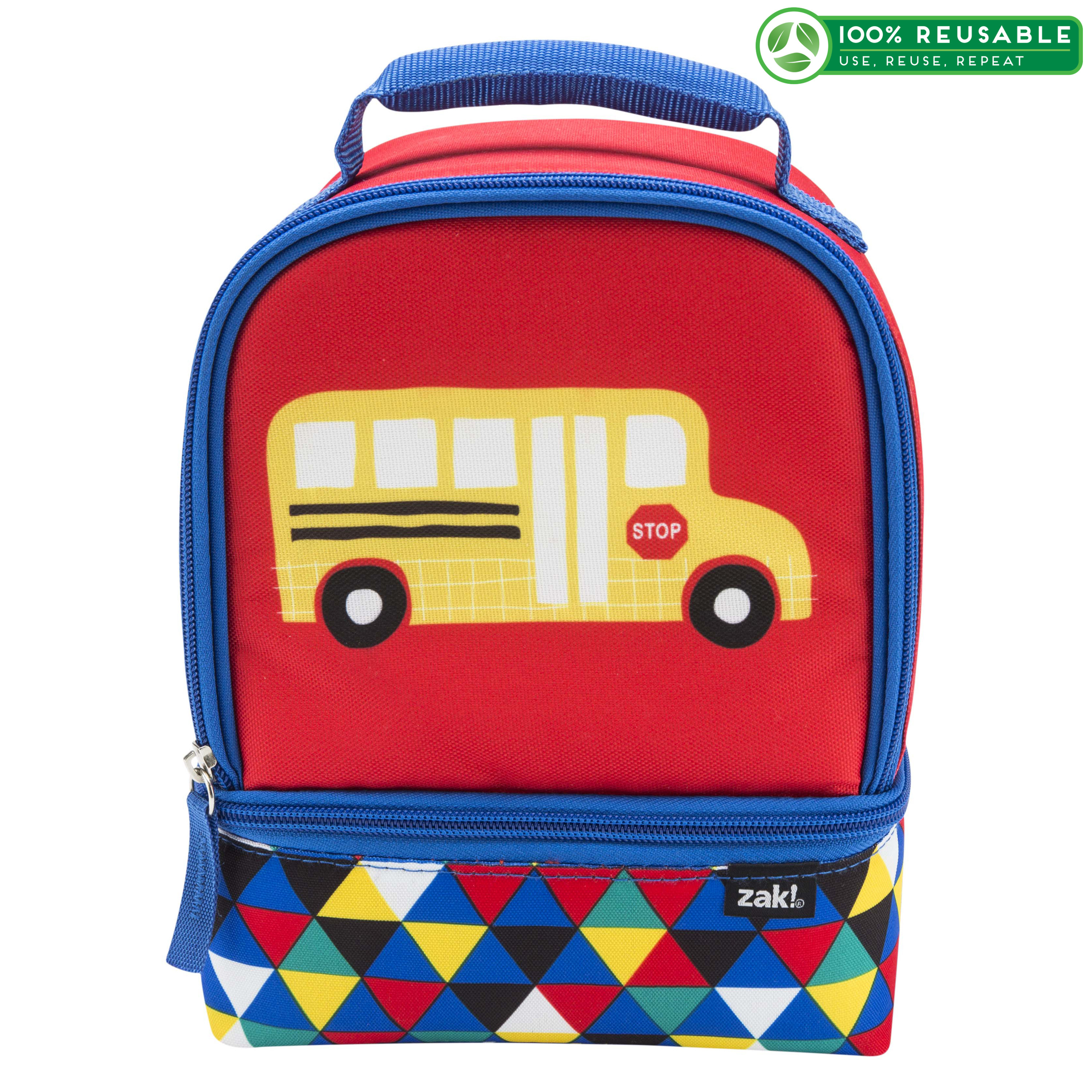 Grid Lock 2-compartment Reusable Insulated Lunch Bag, Buses slideshow image 1