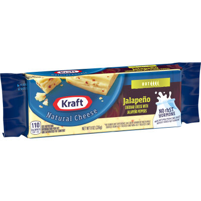 Kraft Natural Jalapeno Cheese Block, 8 oz Wrapper