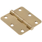 "Hardware Essentials 1/4"" Round Corner Brass Door Hinges (3"")"