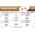 "Birch Wooden Drawer Knobs Assortment (1"" thru 1-3/4"" Pre-Drilled for #12 Wood Screw)"