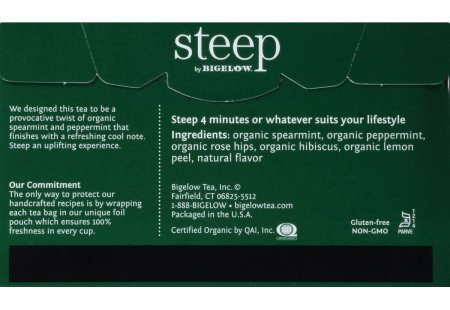 Back of steep by bigelow organic mint herbal tea box