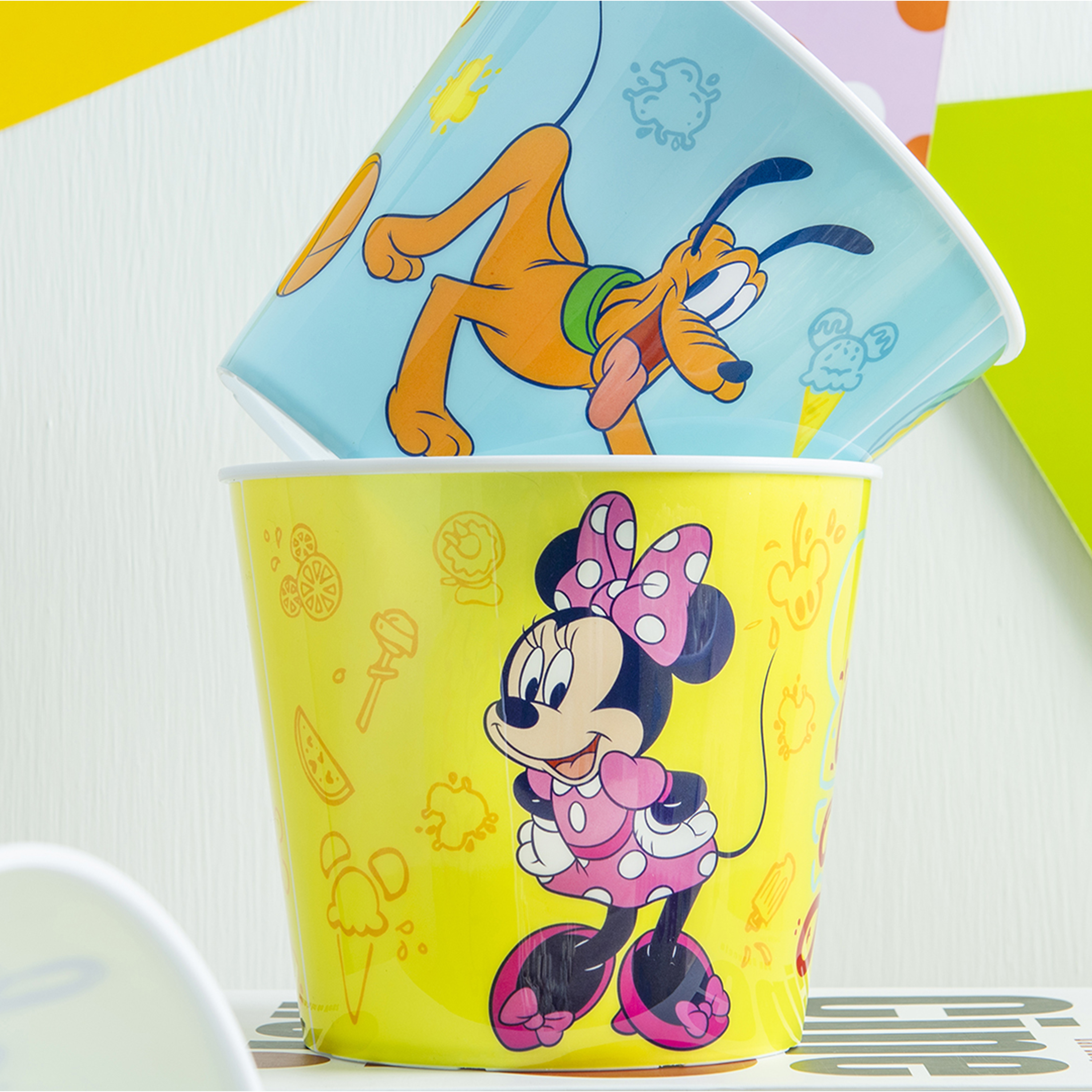 Disney Plastic Popcorn Container and Bowls, Mickey Mouse and Minnie Mouse, 5-piece set slideshow image 2
