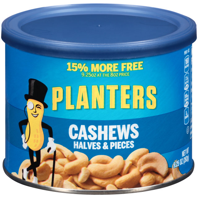 PLANTERS Halves & Pieces Cashews 9.25 oz Can