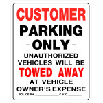 Customer Parking Only Tow Away Sign