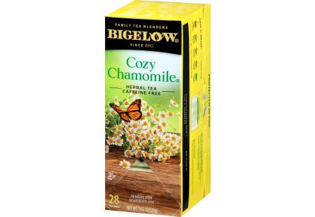 Right facing Cozy Chamomile Herbal Tea Box of 28 tea bags