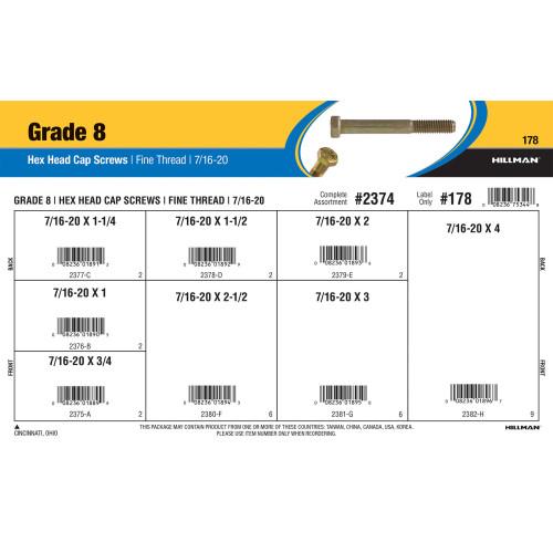 Grade 8 Hex Cap Screws Assortment (7/16-20 Thread)
