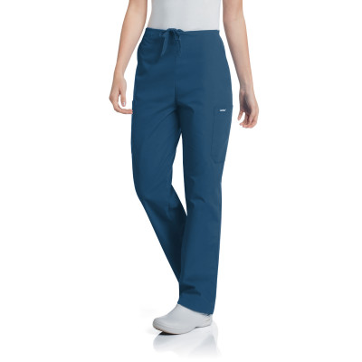 Landau Essentials Cargo Scrub Pants Women: Classic Relaxed Fit, Drawstring, Tapered Leg 8512-