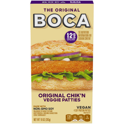 Boca Original Chik'n Vegan Patties Made with Non-GMO Soy 4 count Box