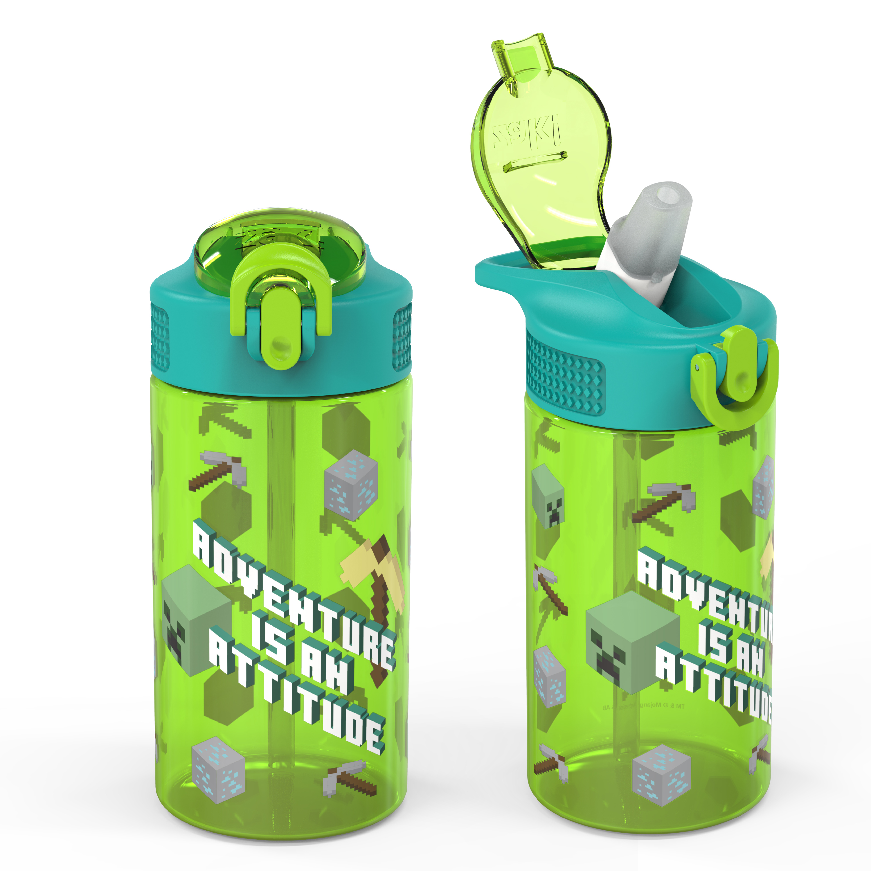 Minecraft 16 ounce Reusable Plastic Water Bottle with Straw, Creeper, 2-piece set slideshow image 1