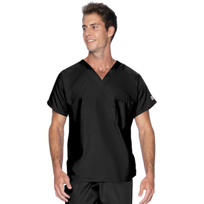 Landau Scrub Zone Unisex 1 Pocket Scrub Top: Classic Relaxed Fit, V-Neck Durable Medical Shirt 71221-Landau