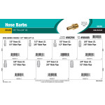 "Brass Hose Barbs Assortment (1/2"" thru 3/4"" Inner Dia.)"