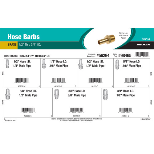 Brass Hose Barbs Assortment (1/2