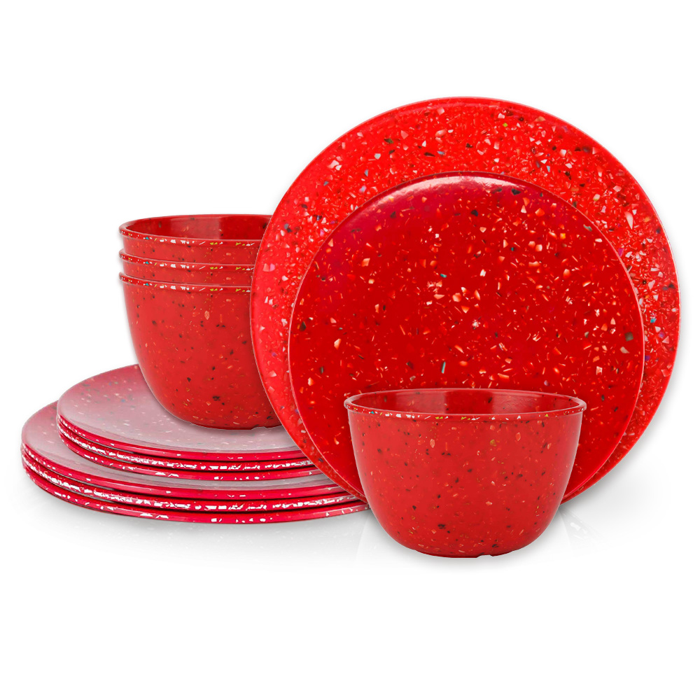 Confetti Dinnerware Set, Red, 12-piece set slideshow image 2