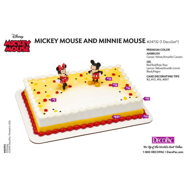 Mickey & Minnie Mouse Cake Decorating Instruction Card