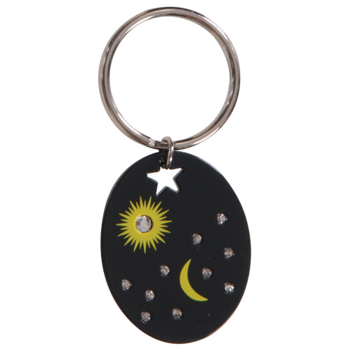 Moon & Star Black Key Chain