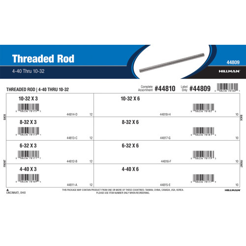 Threaded Rod Assortment (#4-40 to #10-32 Thread Sizes in 3